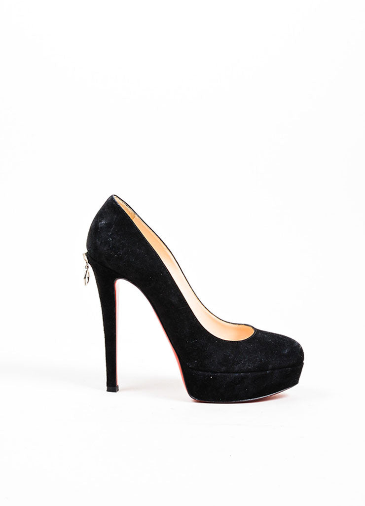 "Black Christian Louboutin Suede Zipper Platform ""Roland"" Pumps Sideview"