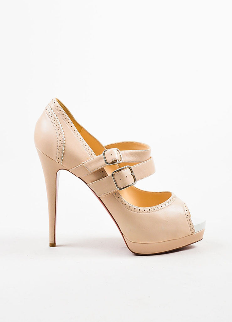 "Beige í_í_Œ¢í_?çí_í_Christian Louboutin Leather Buckle ""Luly 140"" Peep Toe Pumps Sideview"