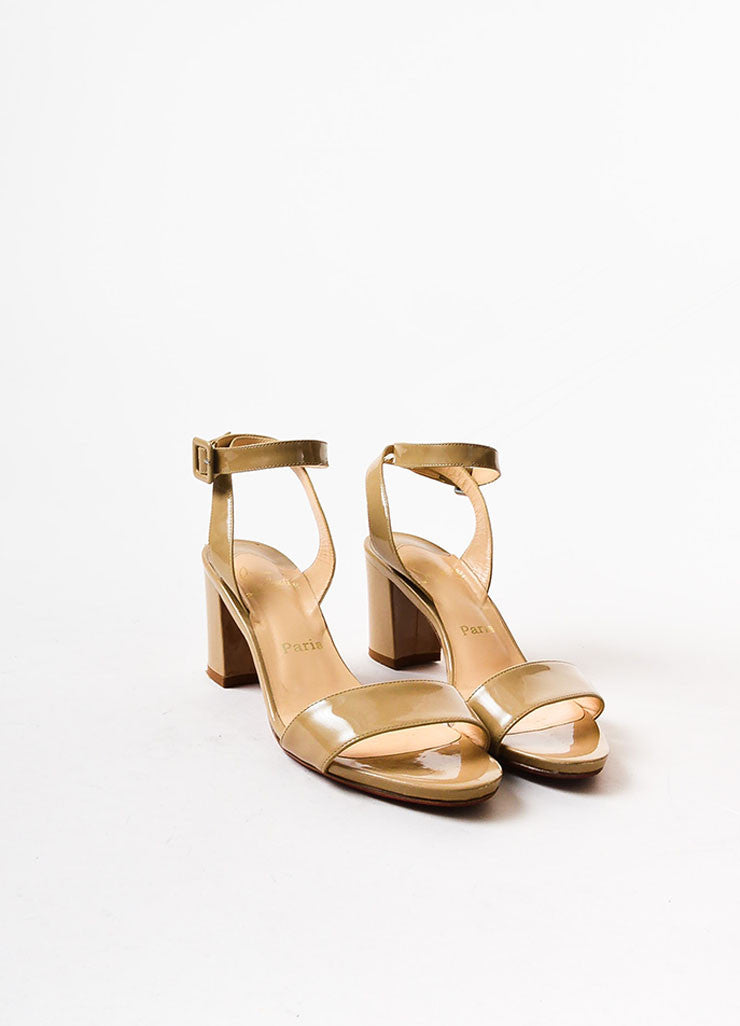 Christian Louboutin Beige Patent Leather Crisscross Strap Sandals Frontview