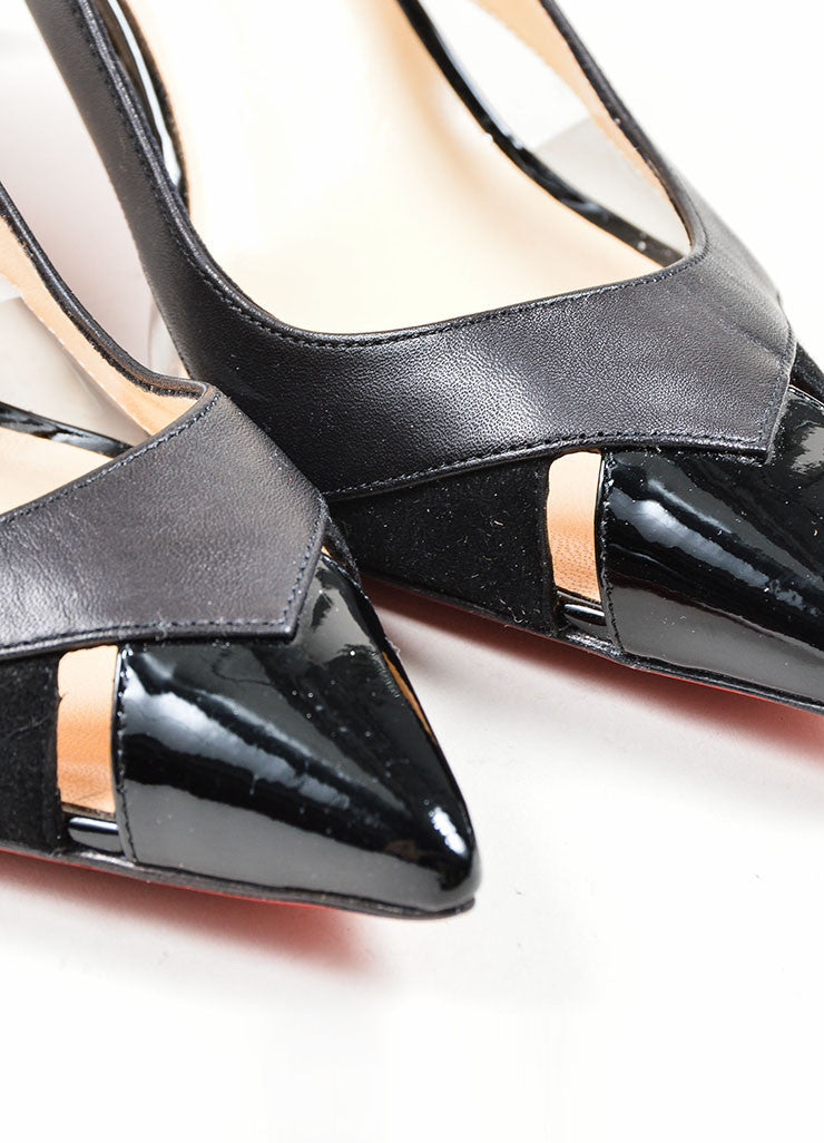 "Black Leather and PVC Christian Louboutin ""Air Chance 70"" Slingbacks Detail"