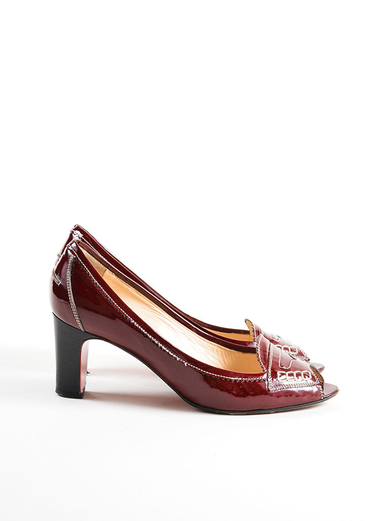 "Christian Louboutin Red Patent Leather Stitched ""Peniche"" Peep Toe Pumps Sideview"