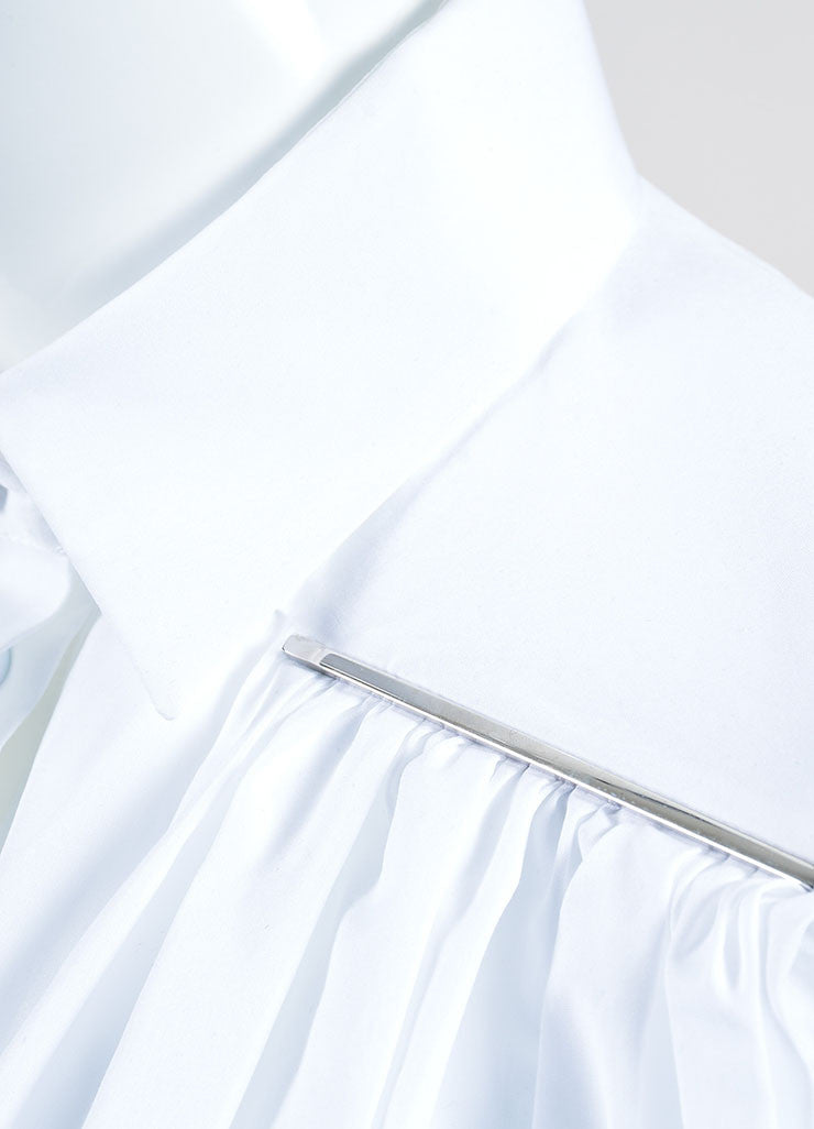 Christopher Kane White Cotton Button Down Pleated Trapeze Crop Top Detail