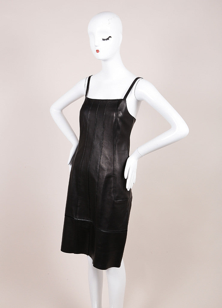 Derek Lam Black Leather Spaghetti Strap Dress Sideview