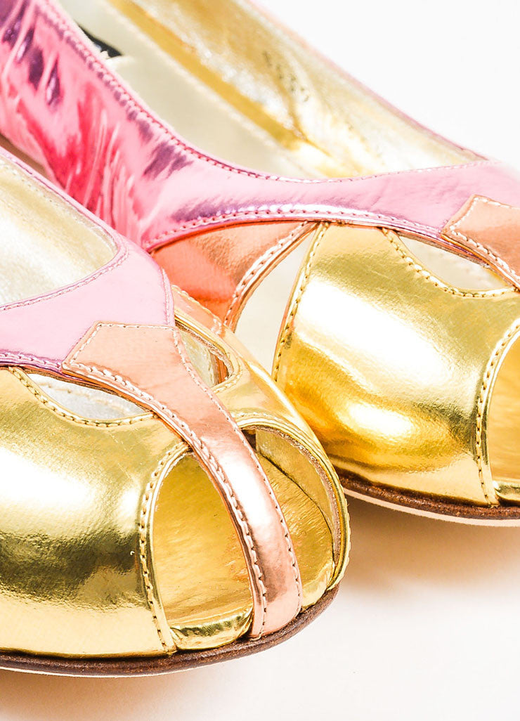 Dolce & Gabbana Pink, Orange, and Gold Metallic Patent Leather Cut Out Flats Detail
