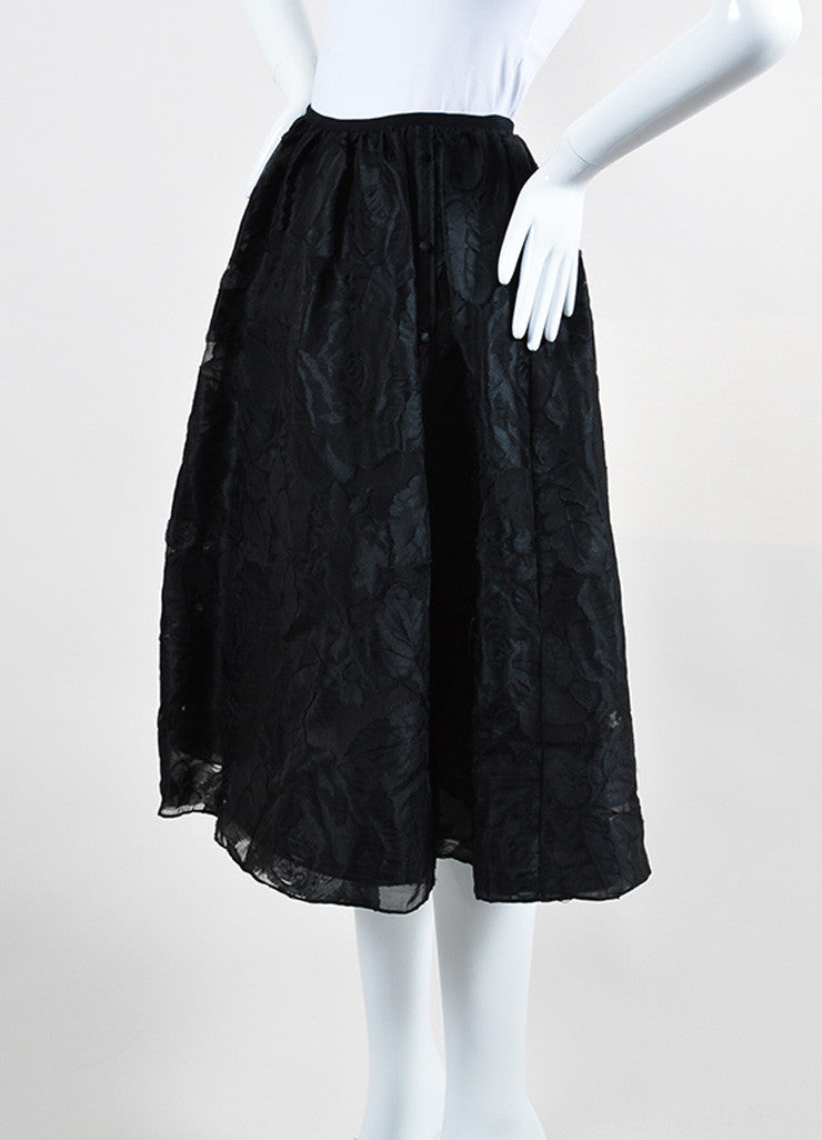 "Black Erdem Rose Floral Fil Coupe A-Line Full ""Sofia"" Skirt Sideview"
