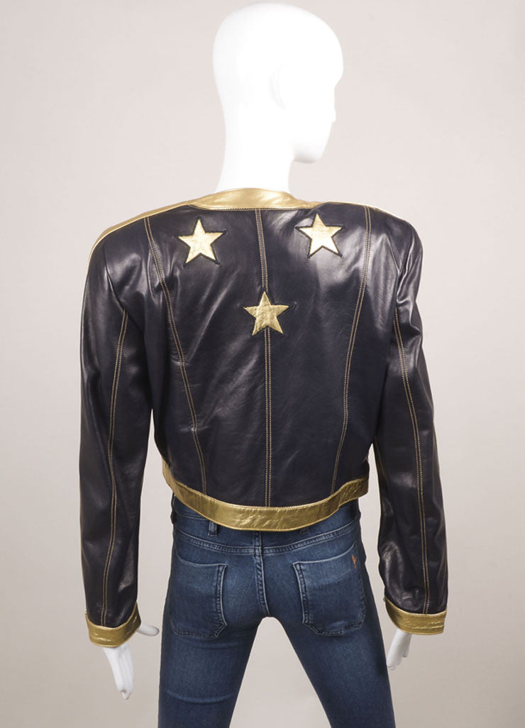Escada Black and Gold Leather Star Embroidered Jacket Backview