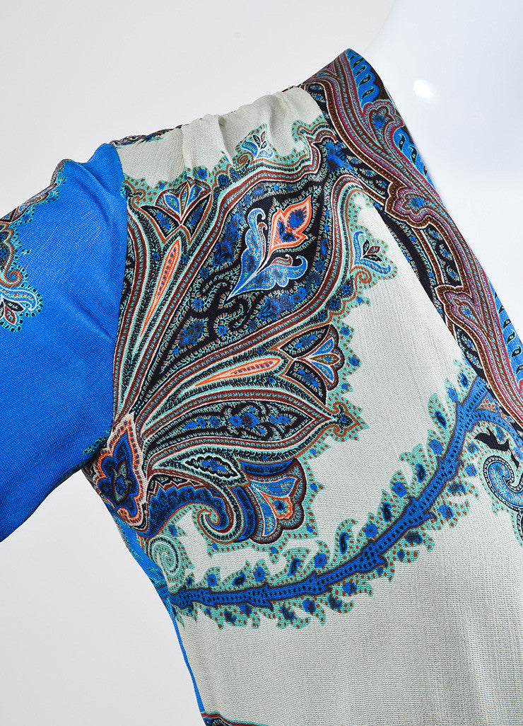 Blue and Multicolor Etro Silk Chiffon Paisley Print V-Neck Long Sleeve Dress Detail