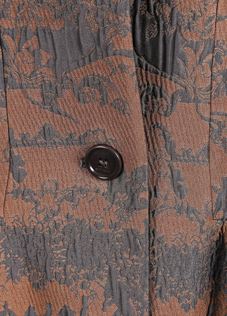 Etro Tan and Blue Rococo Brocade Embroidered Velvet Trim Buttoned Coat Detail