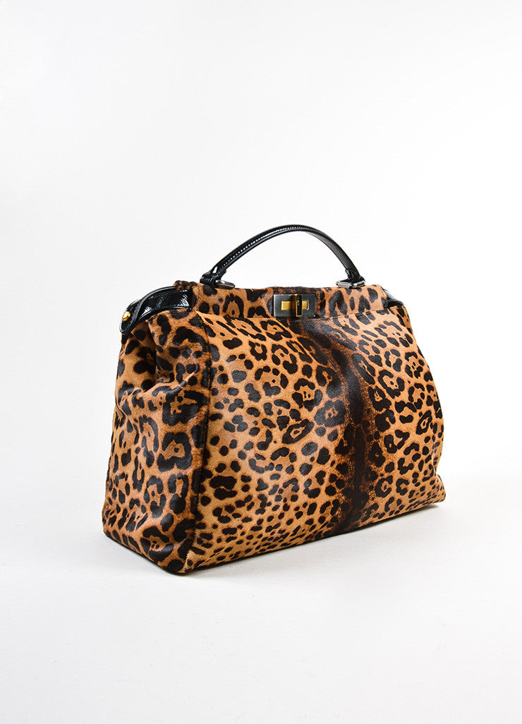 "Fendi Pony Hair Leopard Print ""Peekaboo"" Dual Compartment Bag Sideview"