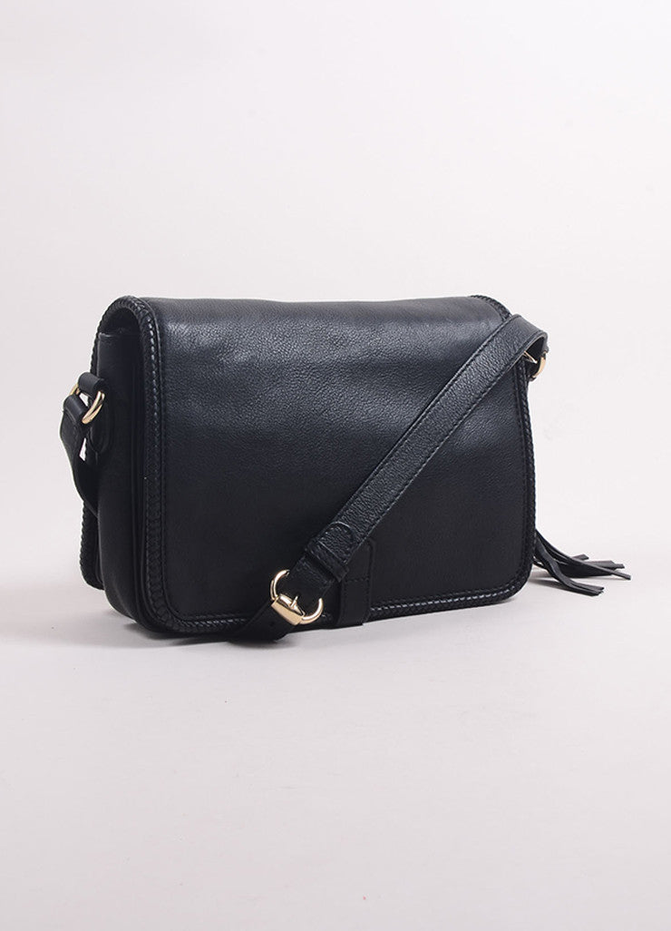 "Gucci Black Leather ""GG"" Tassel Flap ""Marrakech"" Messenger Bag Backview"