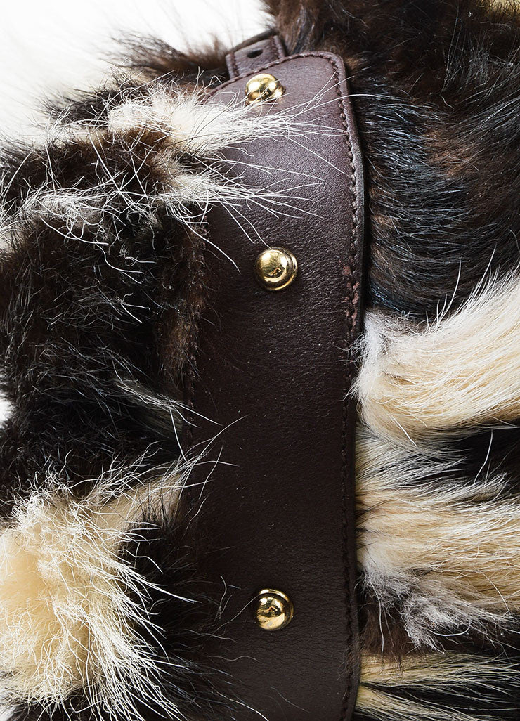 "Brown and White Gucci Fitch Fur Leather Limited Edition ""Pelham Medium"" Bag Detail"