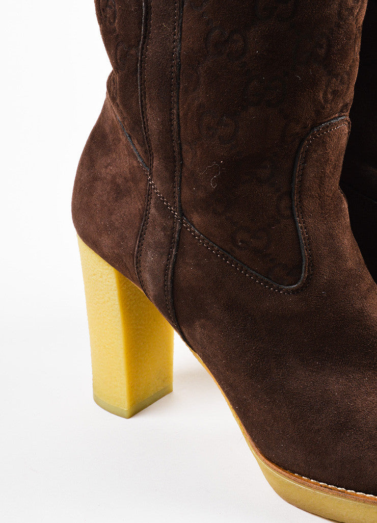 "Gucci Brown Shearling ""Guccissima"" Tall Heeled Boots Detail"