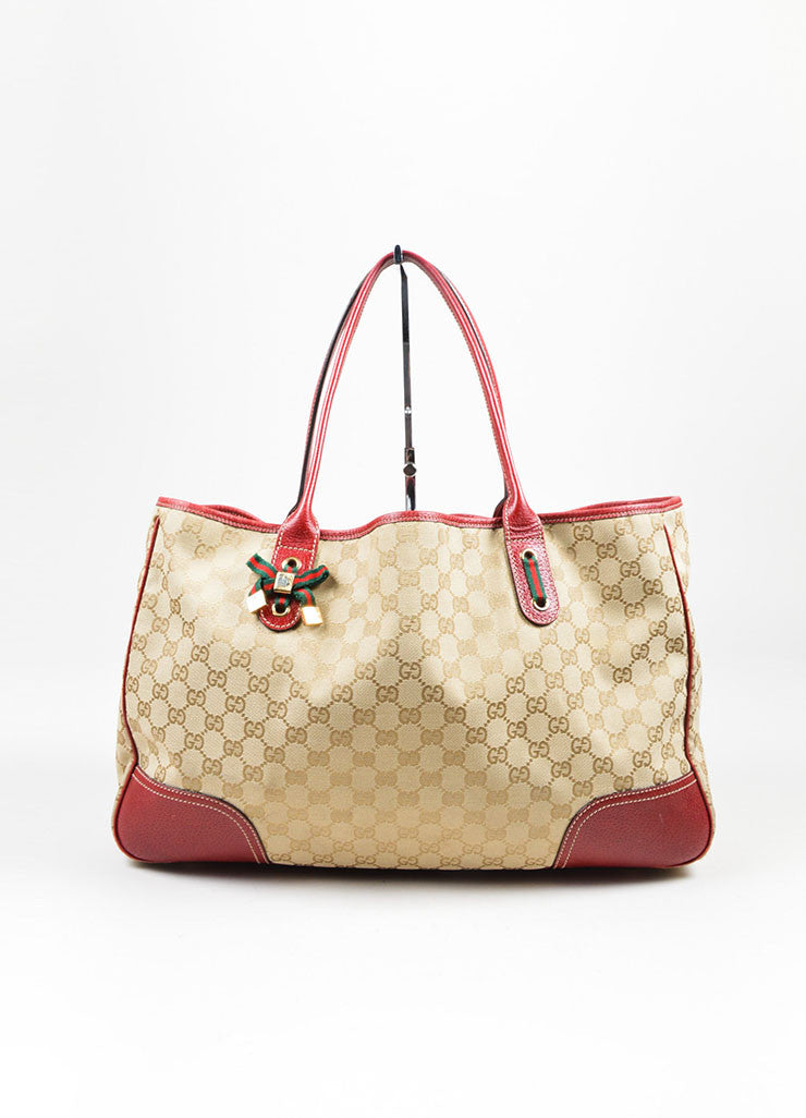 "Beige and Red Gucci Canvas and Leather Monogram ""Princy"" Tote Bag Frontview"