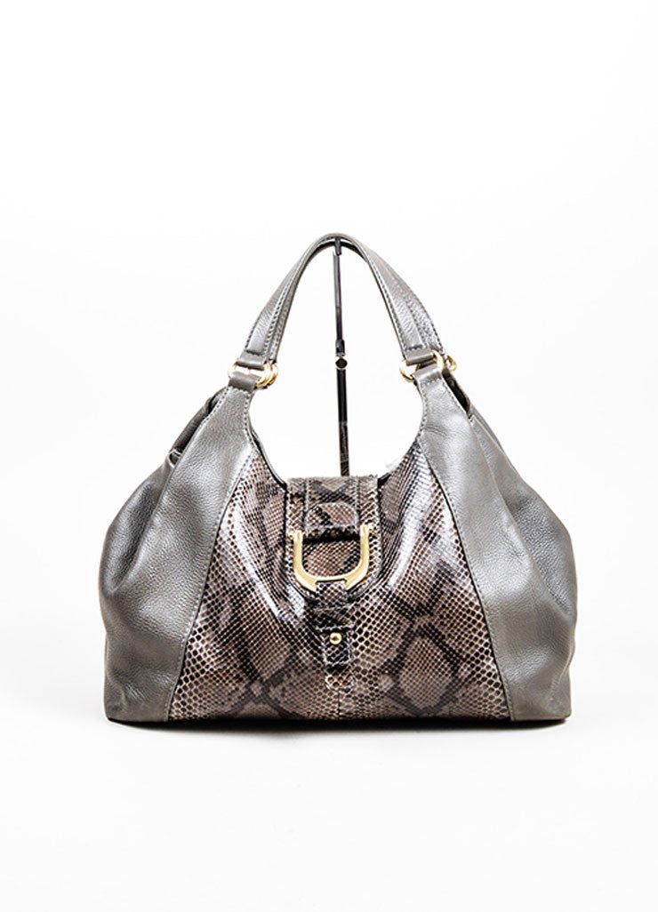 "Grey Gucci Leather Python Horsebit ""Greenwich"" Shoulder Bag Frontview"