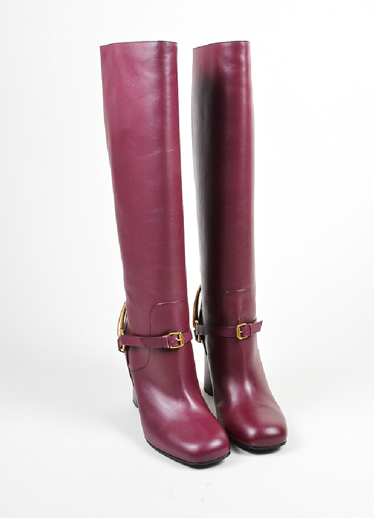 "Burgundy Gucci Leather Gold Toned Horsebit Tall ""Lifford"" Boots Frontview"