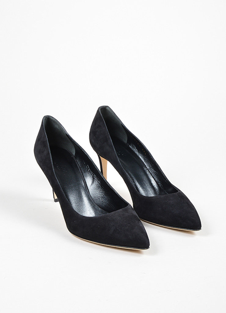 "Gucci Black Suede Pointed Toe ""Brooke 75mm"" Pumps Frontview"