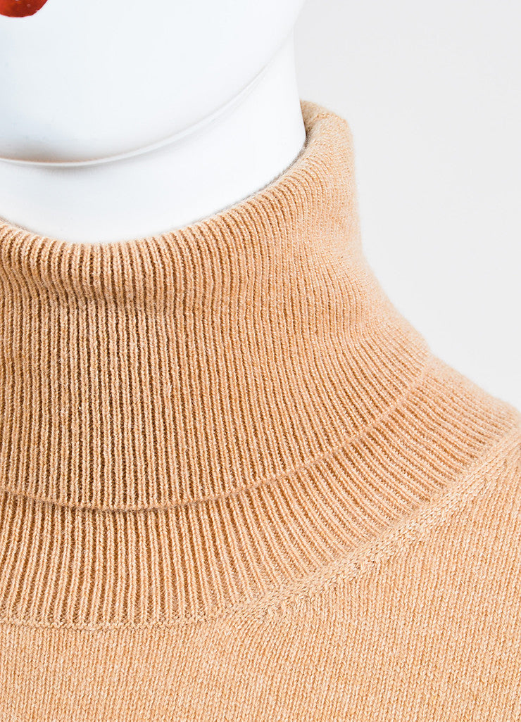 Gucci Tan Cashmere Long Sleeve Turtleneck Oversized Sweater Detail
