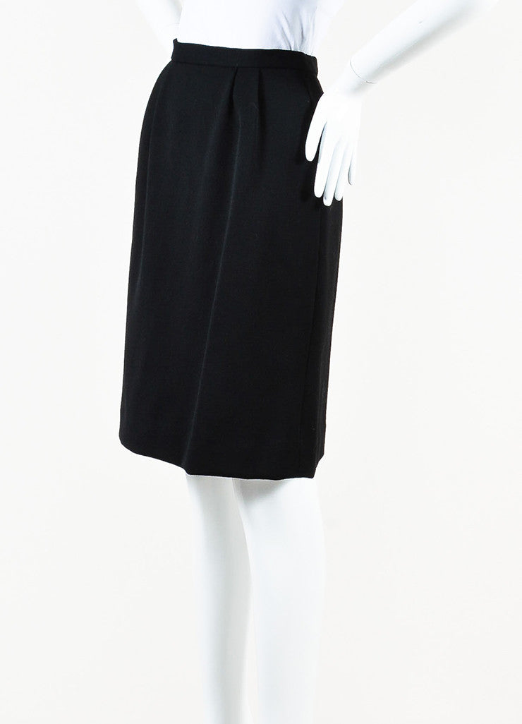 Hermes Black Wool Velvet Logo Button Pleated Pencil Skirt angled