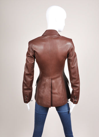 Hermes Chocolate Brown Pebbled Leather Long Sleeve Jacket Backview