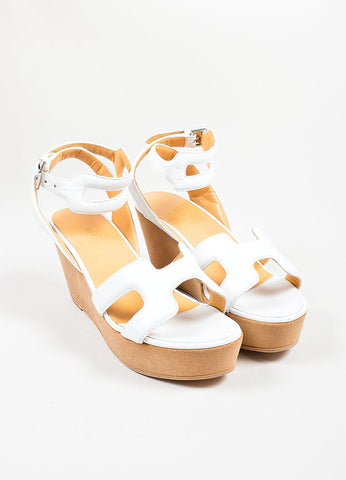 White Hermes Leather Suede Ankle Strap Platform Wedge Sandals Frontview
