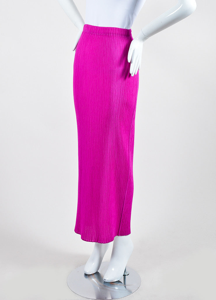 Fuchsia Pink Issey Miyake Micro Pleated Maxi Skirt Sideview