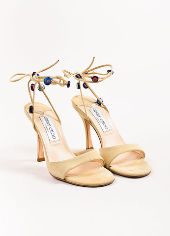 Jimmy Choo Beige Multicolor Beaded Wrap Sandal Heels Frontview