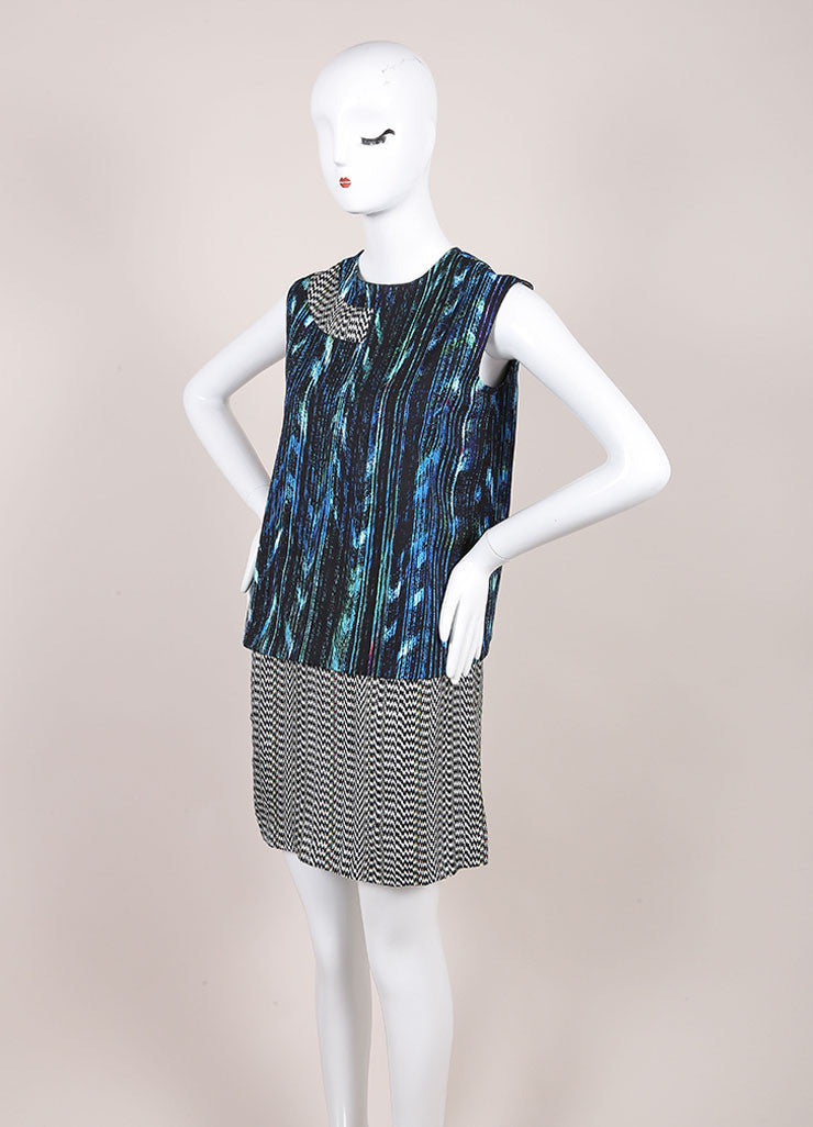 "Kenzo New With Tags Blue and Black ""Sapphire Distortion"" Print Sleeveless Shift Dress Sideview"