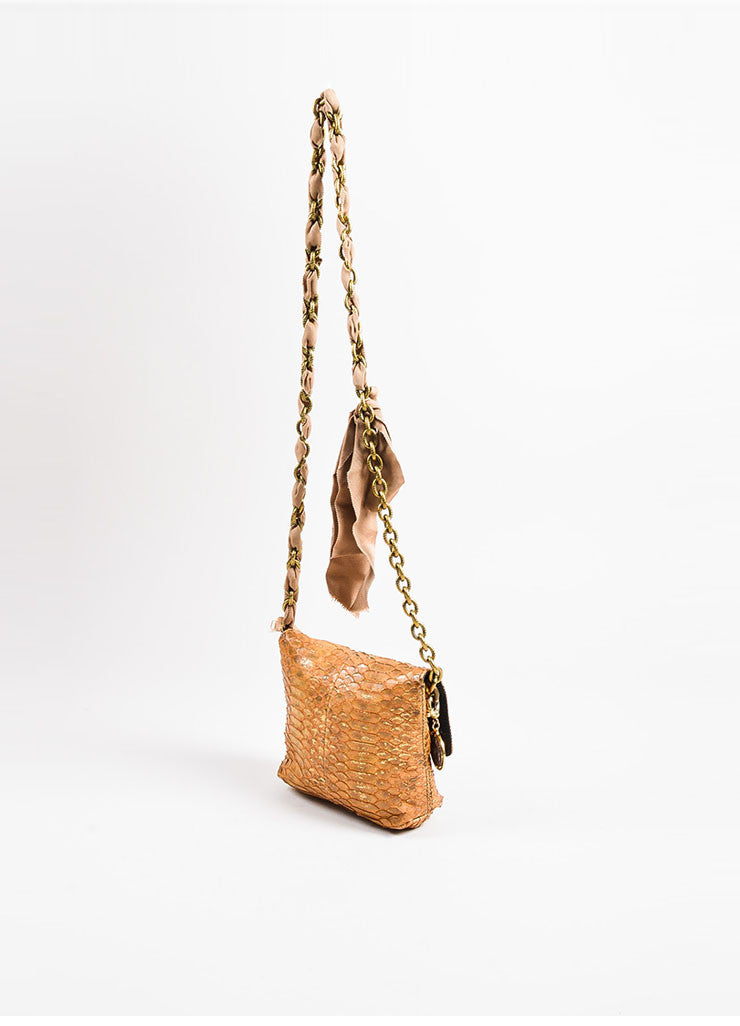 "Lanvin Blush, Tan, and Gold Toned Python Skin ""Happy Mini Pop"" Shoulder Bag Sideview"