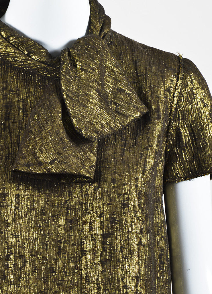 Lanvin Gold Metallic Textured Silk Lame Short Sleeve Neck Tie Blouse Top Detail