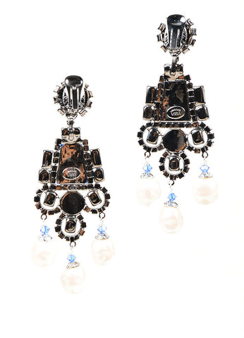 Blue Rhinestone Lawrence VRBA Deco Dangle Earrings Back