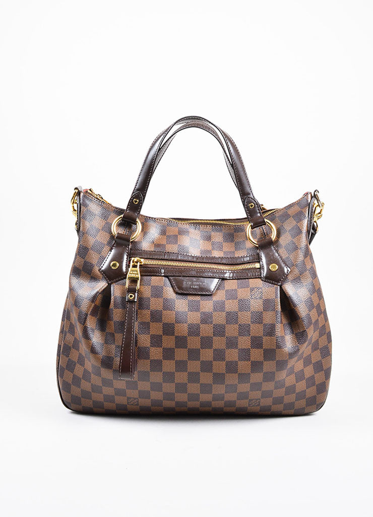 "Louis Vuitton Brown ""Ebene Damier"" Coated Canvas Checkered ""Evora MM"" Tote Bag Frontview"