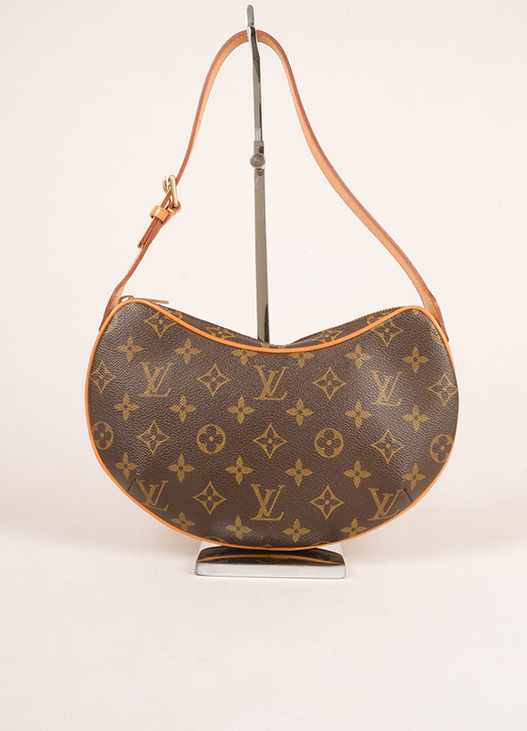 "Louis Vuitton Brown Monogram Canvas and Leather ""Croissant MM"" Shoulder Bag Frontview"