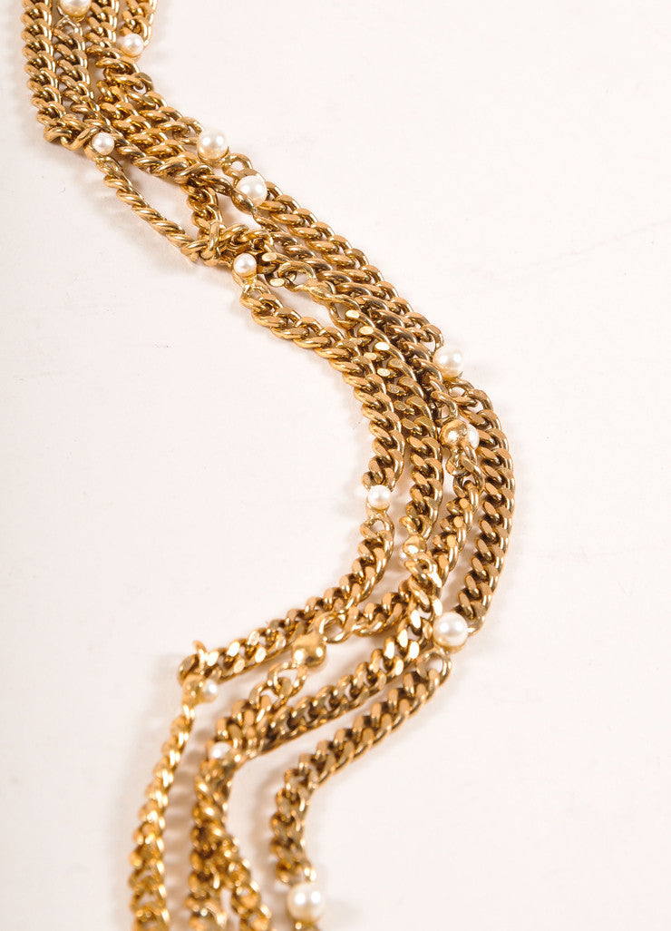 "Chanel Gold Toned and Faux Pearl ""CC"" Multi Strand Chain Belt Detail"