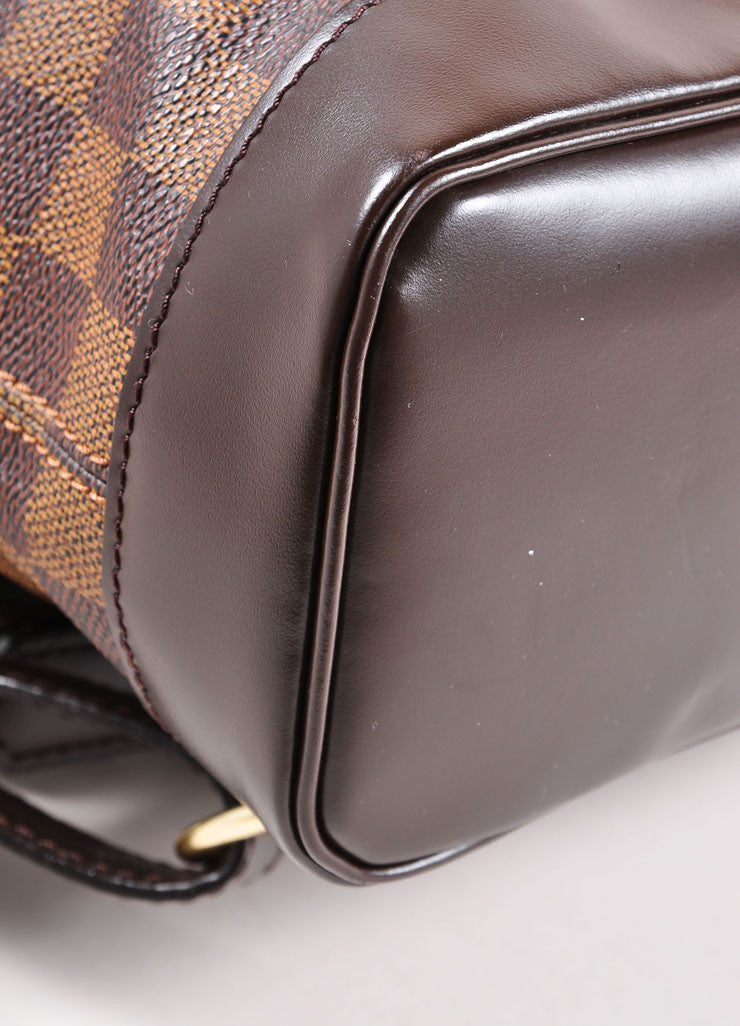 "Louis Vuitton Brown Damier Canvas Ebene ""Soho"" Backpack Detail"