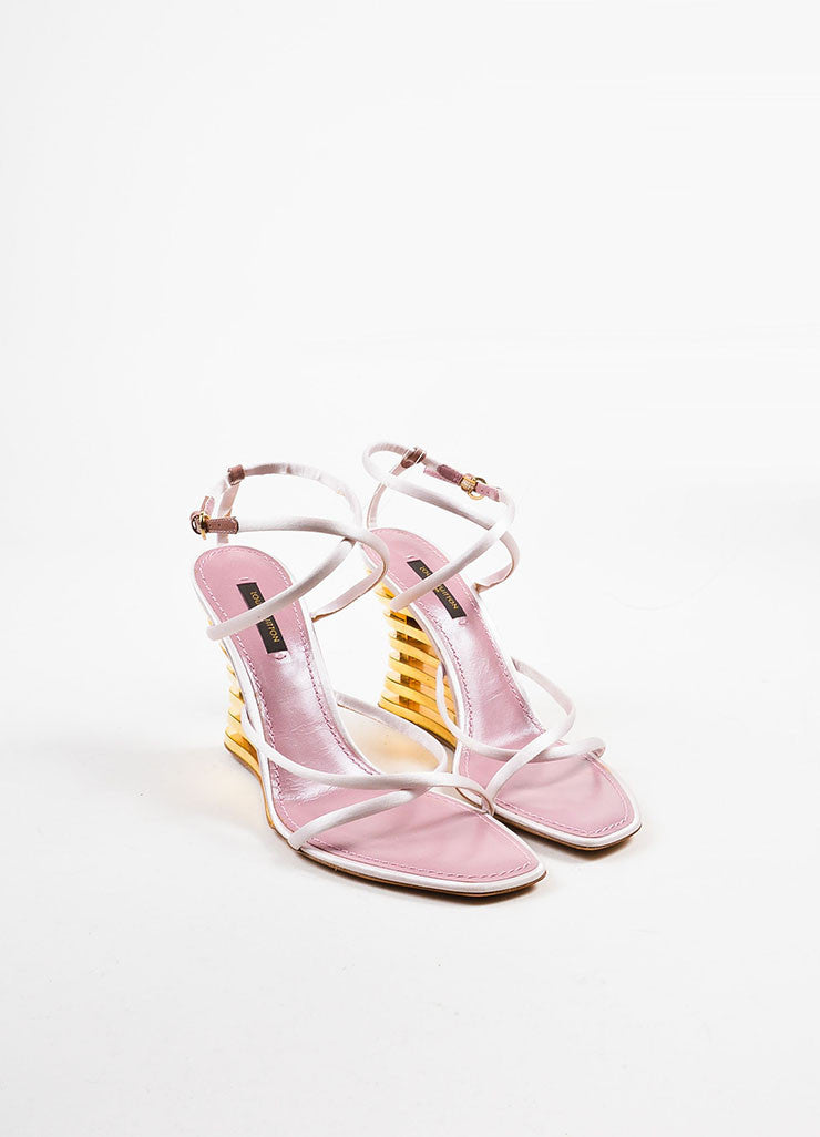 "Pink and Gold Louis Vuitton Satin ""Lime"" Wedge Sandals Frontview"