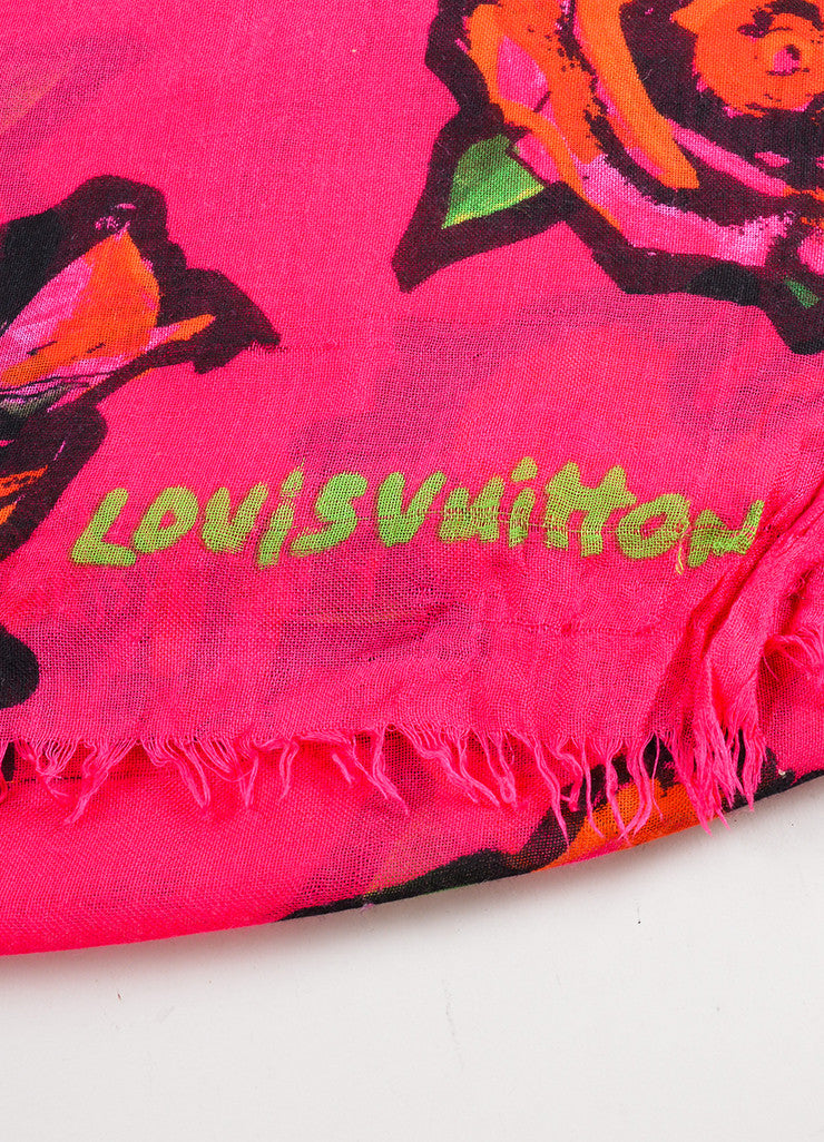 Louis Vuitton x Stephen Sprouse Pink and Red Cashmere and Silk Rose Print Fringe Scarf Brand