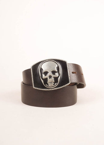 Lucien Pellat-Feinet Brown and Black Leather Skull Buckle Belt Frontview