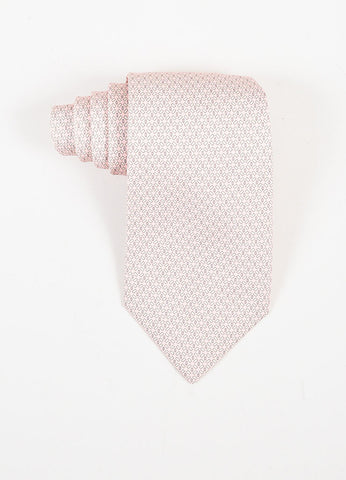 Men's Hermes Light Pink Gray Silk Printed Necktie Front