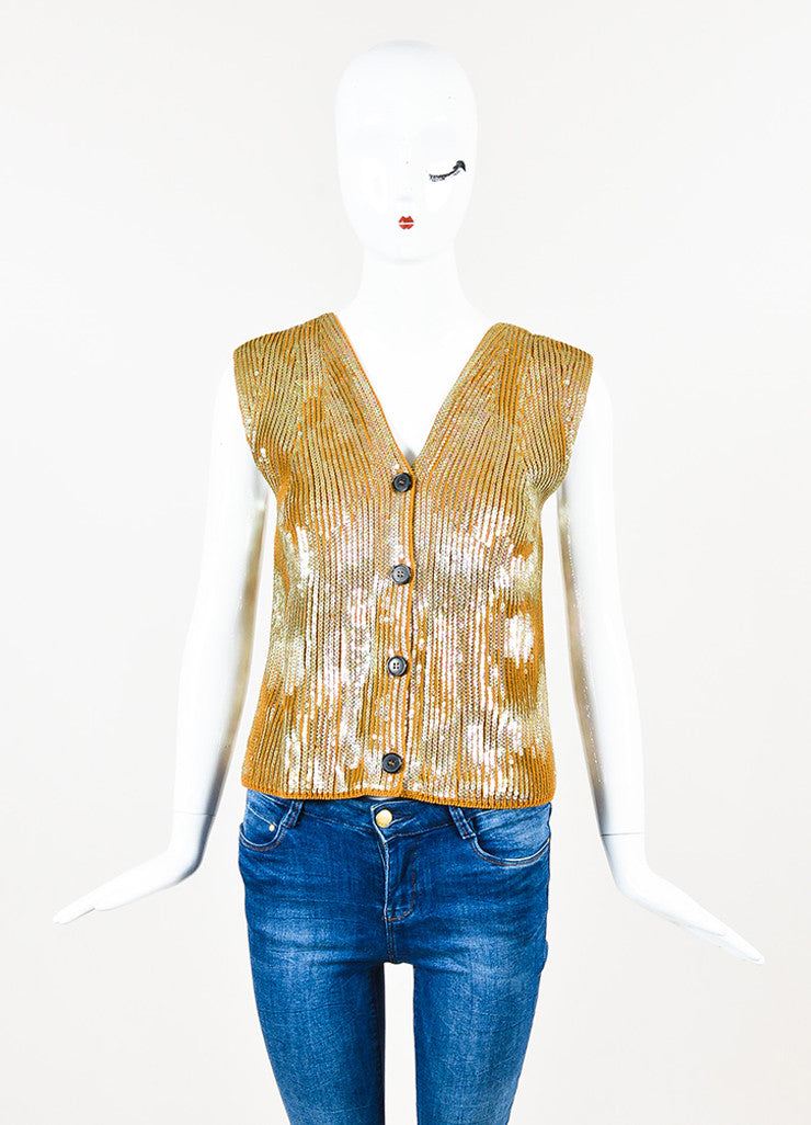 Maison Martin Margiela Tan Ribbed Knit Sequined Vest Frontview 2