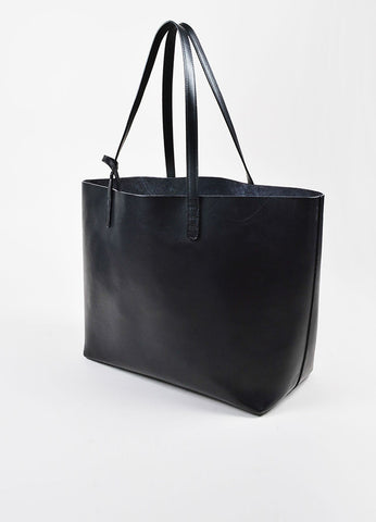 Mansur Gavriel Black Vegetable Tanned Leather Large Top Handle Tote Bag Sideview