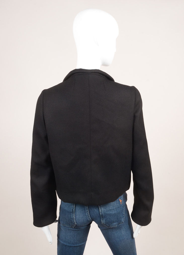 Marni Black Wool Bow Tie Cropped Long Sleeve Jacket Backview