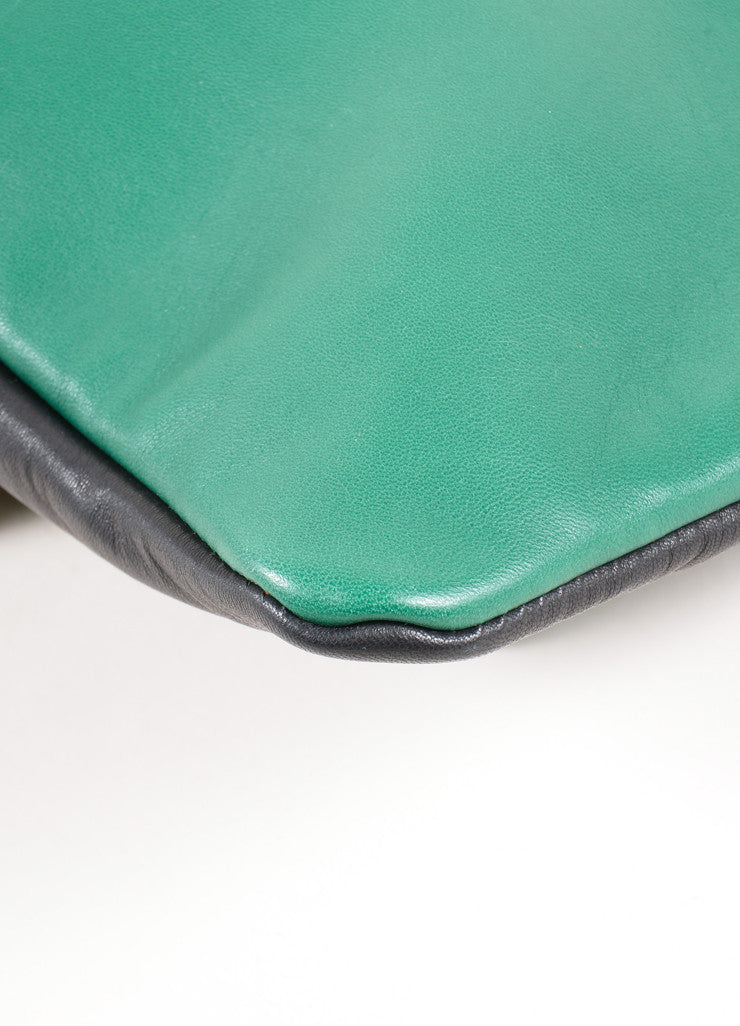 "Marni Green and Black Lamb Leather Foldover ""Muppets"" Clutch Bag Detail"
