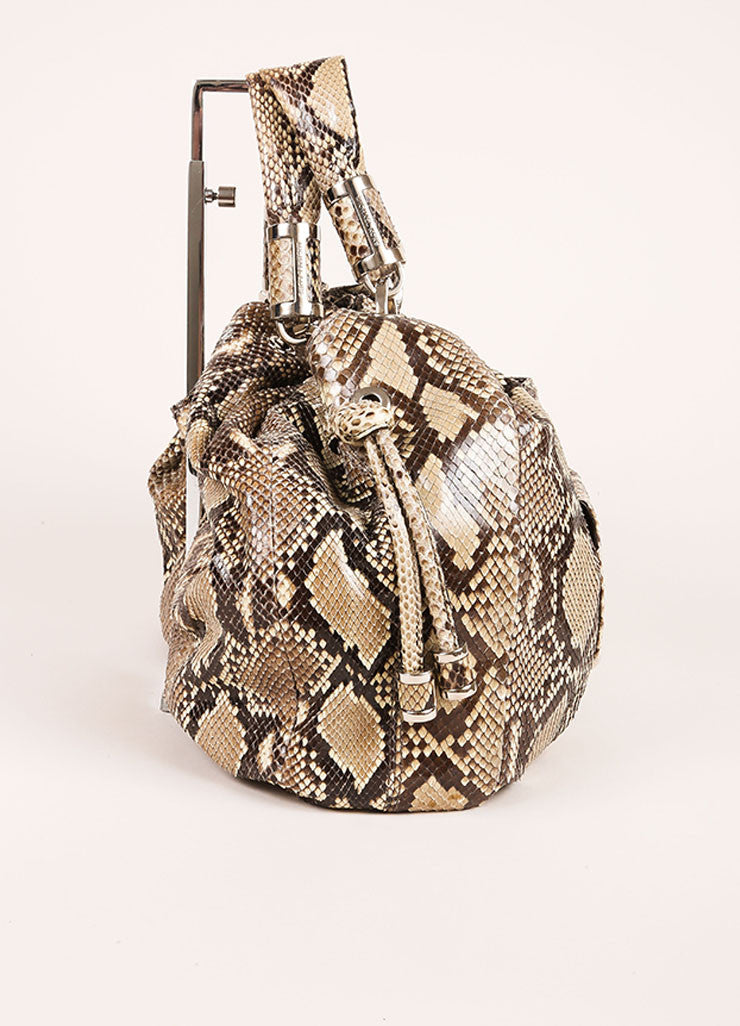 "Michael Kors Brown and Taupe Python ""Tonne"" Handbag Sideview"