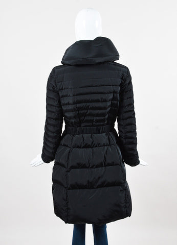 Moncler Black Down Belted Funnel Neck Puffer Coat Backview