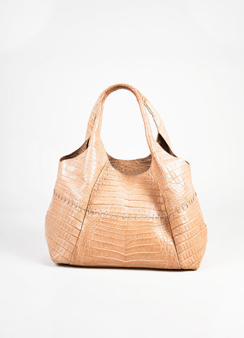 Nancy Gonzalez Blush Pink Genuine Crocodile Double Strap Hobo Bag front