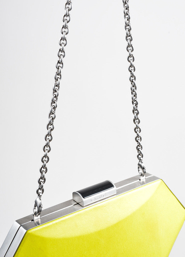 "Neon Yellow Oscar de la Renta Leather ""Cara"" Convertible Clutch Bag Detail 2"