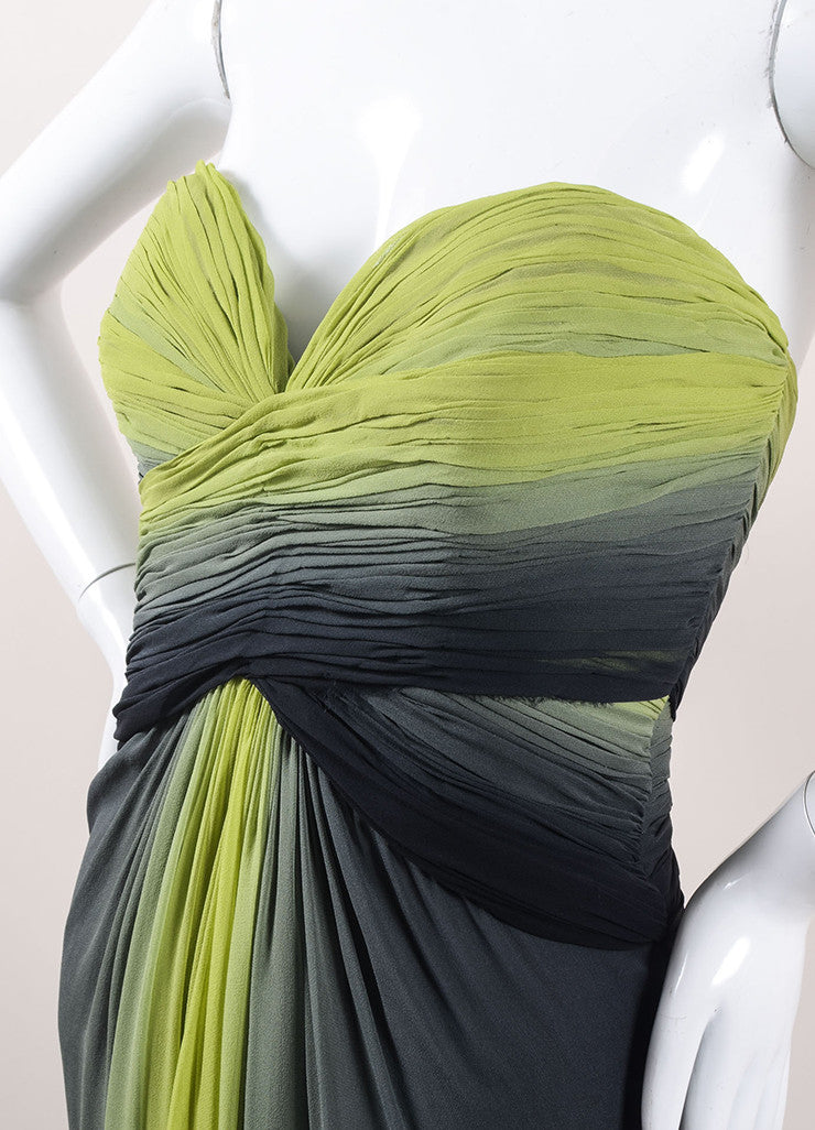 Pamella Roland Green and Black Ombre Silk Chiffon Strapless Gown Detail