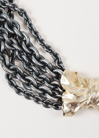 Pedro Boregaard Sterling Silver, 18K Gold, and Diamond Bow Chain Necklace Detail