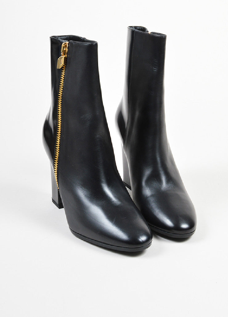 Pierre Hardy Black Leather Gold Toned Zip High Heel Ankle Boots Frontview
