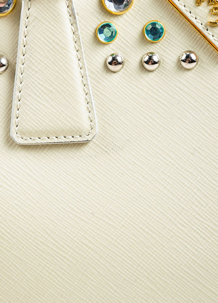 Prada Cream Saffiano Leather Rhinestone Stud Embellished Tote Handbag Detail 3